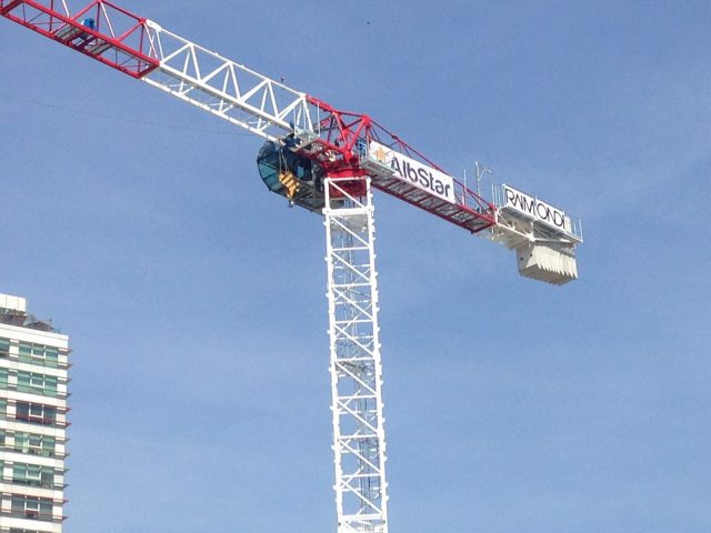 First Raimondi crane erected in Albania at Tirana's National Arena